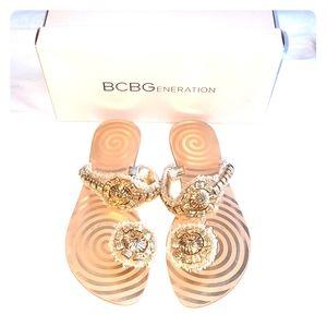 BCBG Marianne gold sandals size 8.5